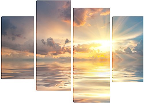 a-calming-ocean-sunrise-canvas-art-4-split-panel-design-71cm-x-101cm-free-hanging-kit-included-by-fl