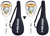 2 x Head Liquidmetal Ice Squash Rackets + 3 Squash Balls RRP £355