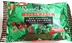 Russell Stover Sugar Free Dark Chocolate Pecan Delights 10 Oz
