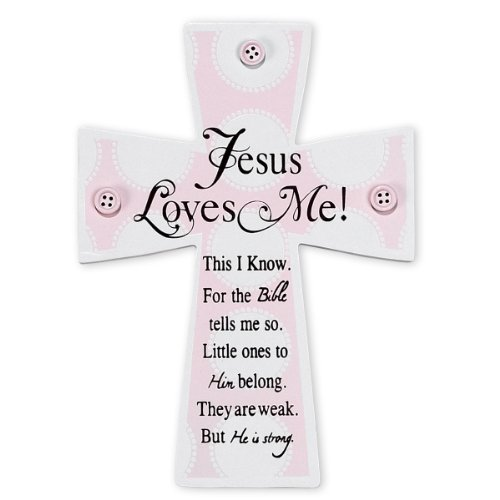 Dicksons Jesus Loves Me Wall Cross, Pink Buttons (Discontinued by Manufacturer)