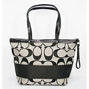 Coach Medium Black & White Signature Stripe Tote Bag - 13548