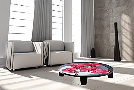 "TAF DECOR ""Hot Orchids 2"" Art Coffee Table, 35"" X 35"" X 7.5"", Multicolored"