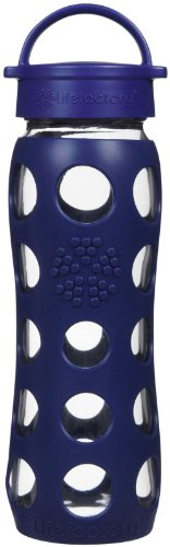 Lifefactory 22-Ounce Beverage Bottle, Midnight Blue (Wide Mouth Glass Water Bottle compare prices)