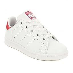 adidas Originals Girls\' Stan Smith EL C Skate Shoe, White/White/Pink Buzz S, 1 M US Little Kid
