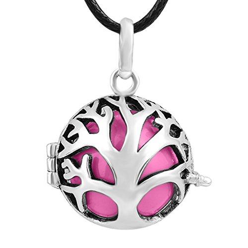 Eudora Harmony Ball ciondolo albero ciondolo sfera Chime Collana da donna, placcato argento, colore: Pink, cod. H111A10-45