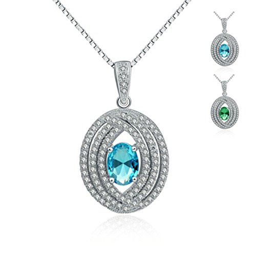 Beydodo Silver Plating Necklace(Pendant Necklaces) For Women Oval Cut Green Rhinestone Nickle Free (Madonna Material Girl Fancy Dress)