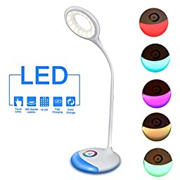 LED Table Lamp, Angozo LED Desk Lamp with Slide Control Color Changing Base, Touch Control and Adjustable Brightness Light