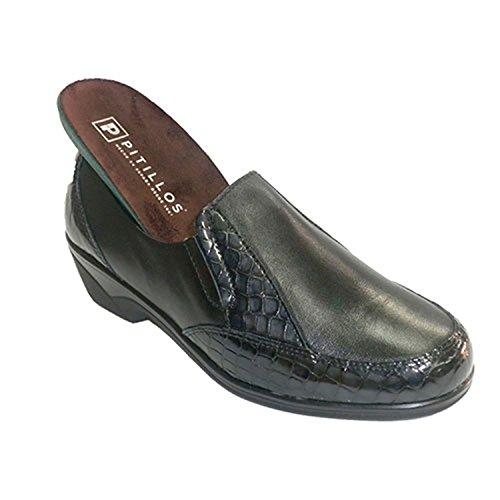 scarpe da donna con ornamenti coccodrillo di gomma sui lati Pitillos nero taille 38
