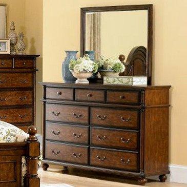 Homelegance Langston 9 Drawer Dresser w/ Mirror in Brown Cherry