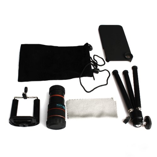 Vktech New 8 X Zoom Telescope Camera Lens +Flexible Tripod Stand For Mobile Phone Iphone 4 4S 5 With Carrying Bag