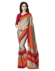 A G Lifestyle Beige & Orange Crepe Saree With Unstitched Blouse SD211