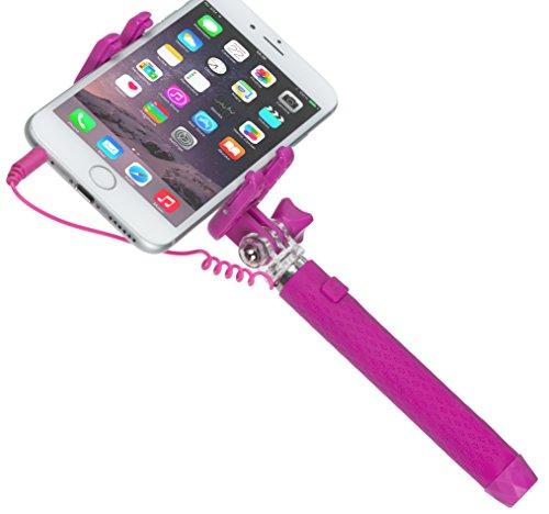 Kitvision KVPKSSWPI Perche de Selfie/Monopode Léger Extensible Portable de Poche avec Miroir pour Smartphones 50mm - 70mm de Large - Rose