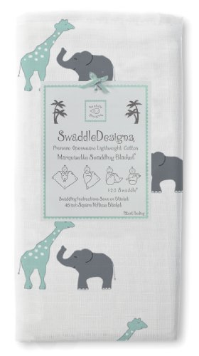 Swaddledesigns Marquisette Swaddling Blanket, Safari Fun, Seacrystal