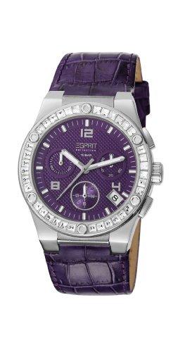 ESPRIT Collection EL101822F04 - Reloj cronógrafo de cuarzo para mujer con correa de piel, color morado