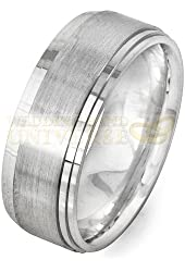 14K White Gold 7.5 mm Brushed Wide Men's and Women's Wedding Band Comfort Fit (distributed by: Kourosh Jewelry)