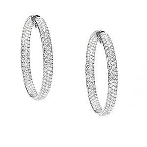 18K White Gold Diamond Inside/Outside Hoop Earrings - 12.25 Ct. -- LIFETIME WARRANTY