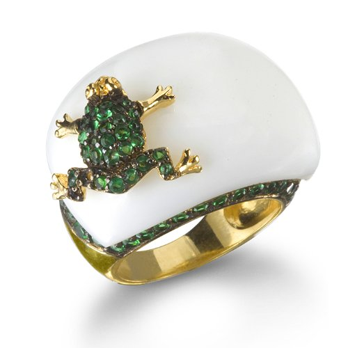 White Agate Frog Ring