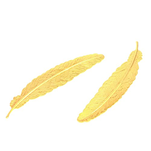 Prudance 5PCS Classical Delicacy Feather Metal Bookmark - Gloden
