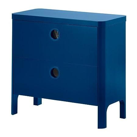 IKEA BUSUNGE - Cómoda de 2 cajones, azul medio - 80x75 cm