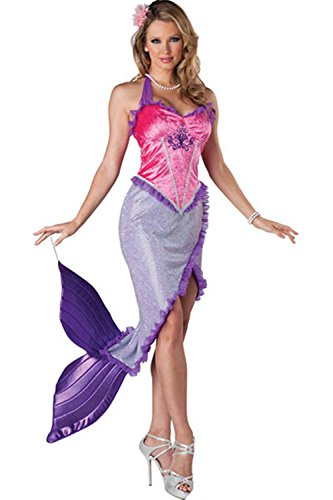 Lover-baby® Purple Ruffle High Front Slit Fancy Dress Mermaid Halloween Costumes