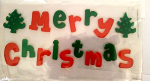 Merry Christmas Reusable Gel Window Clings ~ Red & Green Merry Christmas with Christmas Trees (16 Clings, 1 Sheet) - 1