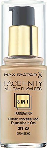 Max Factor - Fondotinta Facefinity All Day Flawless 3 in 1, n° 80 Bronze