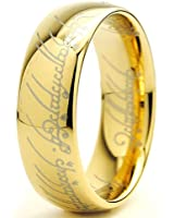 "Ultimate Metals Co. 7MM Bague Tungstene ""Seigneur des Anneaux ""LORD OF THE RINGS"" Plaque D' or Taille"