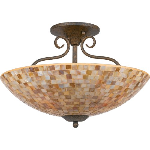 Quoizel MY1718ML Monterey Mosaic 4 Light 18-Inch Semi Flush Mount, Malaga