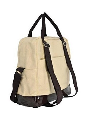 Canvas Beige Slouchy Top Double Handle Cross Body Shoulder Bag Shopping Tote Handbag Backpack for Girls