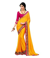Om Shantam Sarees women's Georgette Printed Saree with Blouse(OmyellowPrint_Yellow)