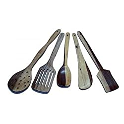 Onlineshoppee Wooden Spoon Set Of 5 | 1 Frying, 1 Serving, 1 Spatula, 1 Chapati Spoon