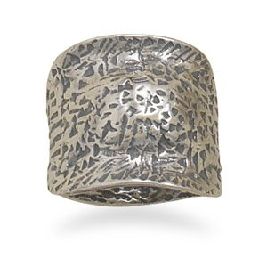 Sterling Silver Oxidized Textured Domed Ring / Size 8
