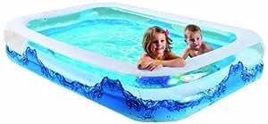"""Wehncke 12242 Jumbo Pool """"Water Wave"""" mit 2 Wülsten, Bodenablassventil, 200 x 150 x 50 cm"""