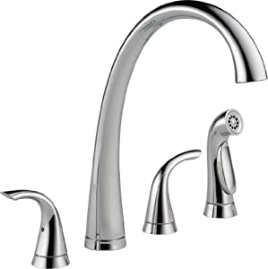 Delta Faucet 2480-DST Pillar Two Handle Widespread Kitchen Faucet with Spray, Chrome