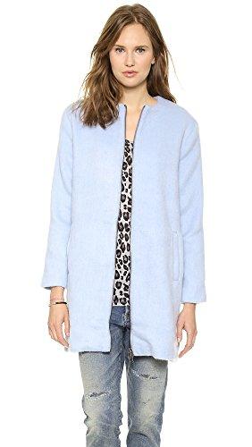 Bb Dakota Women'S Liezel Collarless Brushed Wool Zip Front Coat, Cyanide, Medium