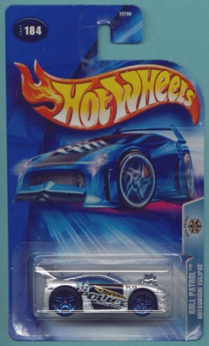 Hot Wheels 2004 1:64 Scale Silver & Black Roll Patrol Mitsubishi Eclipse Police Die Cast Car #184