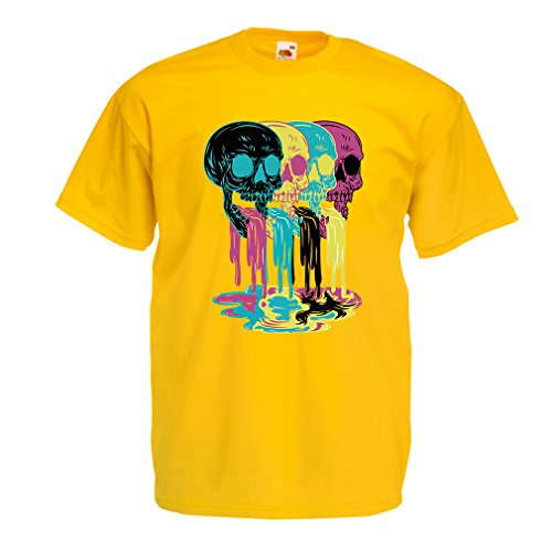 T-shirt da uomo Colored skulls idea regalo moda (Medium Giallo Multicolore)