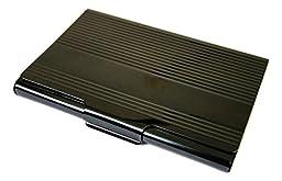 Business Name Card Holder Stainless Steel Case - Ripple Strips Black