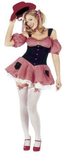 Dolly Parton Gingham Cowgirl Fancy Dress Costume Size US 8-10