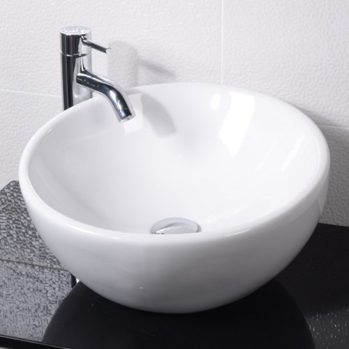 Countertop Bathroom Hand Wash Basin Bowl - Surface Mounted, En-Suite and Cloakroom, Modern Compact Round Ceramic Designer Vessel Sink. Dimensions - Width: 425mm, Depth: 425mm, Height: 225mm