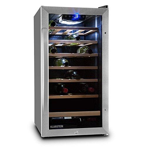 Klarstein Vivo Vino 26 Cantinetta Frigo Vino 26 Bottiglie 88 Litri Acciaio LED Nero