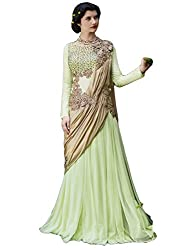 Justkartit Women's Light Green Colour Semi-Stitched Net & Georgette Floor Length Wedding Wear Gown / Exclusive Stylish Wedding & Engagement Wear Gown / Semi-Stitched Ceremony Wear Stylish Gown (Gown Collection June 2016 Launch)