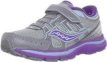 Saucony Crossfire A/C Running Shoe (Little Kid/Big Kid),Grey/Purple/Blue Glow,2.5 W US Little Kid