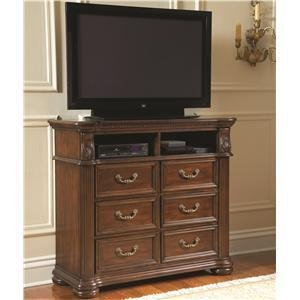 Coaster Ornate Bedroom Media Chest In Rich Brown Finish