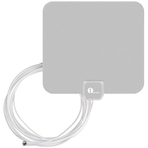 Cheapest Price! 1byone OUS00-0561 Super Thin Indoor HDTV Antenna with 16.5 Feet High Performance Coa...