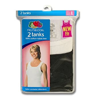 Fruit of the Loom Women 2-Pack Ribbed Cotton Tank, Assorted, Small