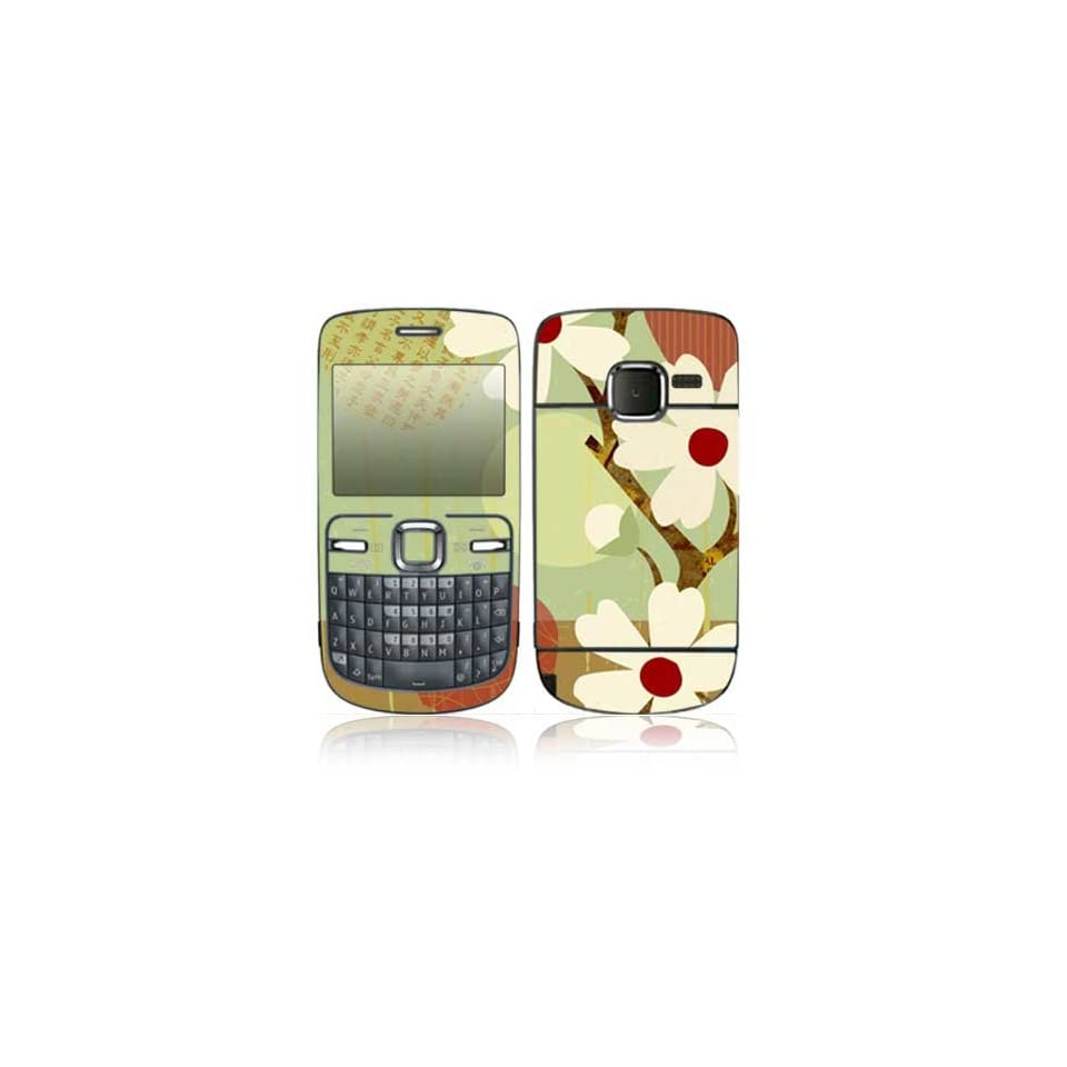 Asian Flower Design Protective Skin Decal Sticker for Nokia C3 / C3 00 Cell Phone