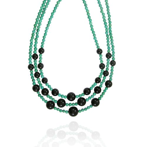 Black Onyx Round-Shaped 8~14mm with Turquoise Bead Layer Necklace, 18+2