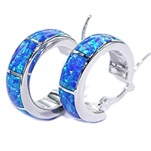 UP LINK Women's Opal 925 Sterling Silver Platinum Plated Earrings Blue