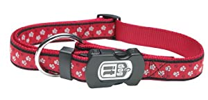 Dogit Style Footloose Adjustable Nylon Collar with Plastic Snap and ID Plate, X-Large 1-Inch by 18-Inch to 26-Inch, Red on Red Nylon